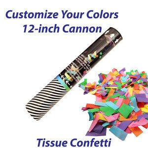 Small single-use confetti cannon filled with tissue confetti.
