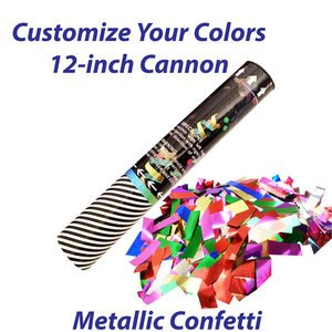 Small single-use confetti cannon filled with metallic confetti.