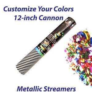 Small single-use streamer cannon filled with metallic streamers.