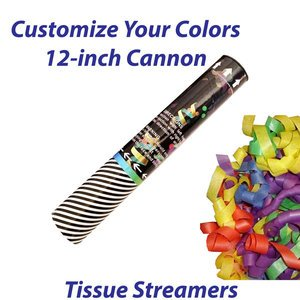 Small single-use streamer cannon filled with tissue streamers.