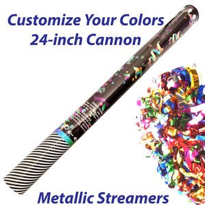 Large single-use streamer cannon filled with metallic streamers.