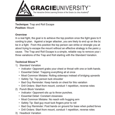 Gracie Combatives Detailed Lesson Printouts