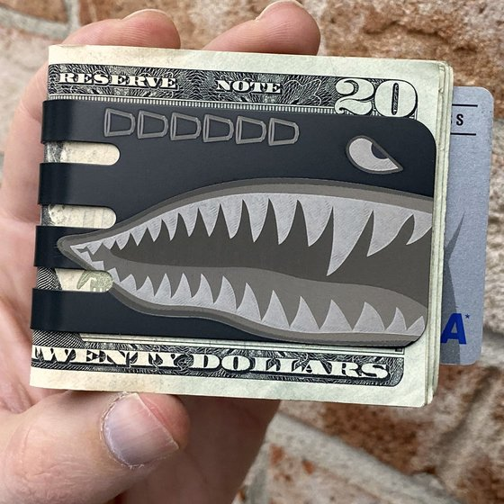 The VIPER™ Titanium Money Clip - Black Diamond Finish with Plane Nose Art Shark