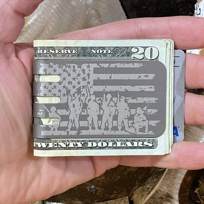 The VIPER™ money clip - VETERAN FLAG on NASA Optical Gray Finish