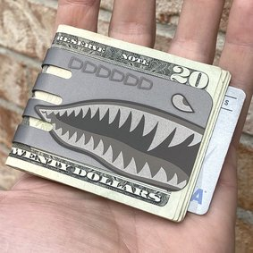 The VIPER™ money clip - PLANE NOSE ART SHARK on NASA Optical Gray Finish