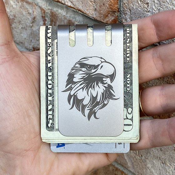 The VIPER™ Money Clip - ENGRAVED EAGLE on Natural Titanium Finish