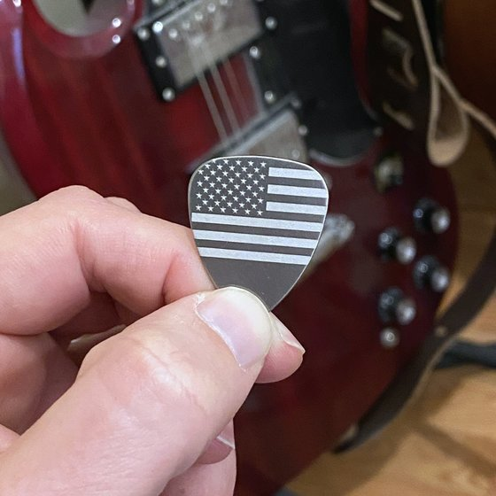 Titanium Guitar Picks with American Flag Gip