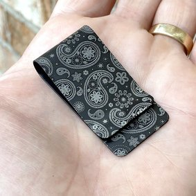 Black Diamond™ Titanium Money Clip - PRECISION ENGRAVED PAISLEY (both top and bottom)