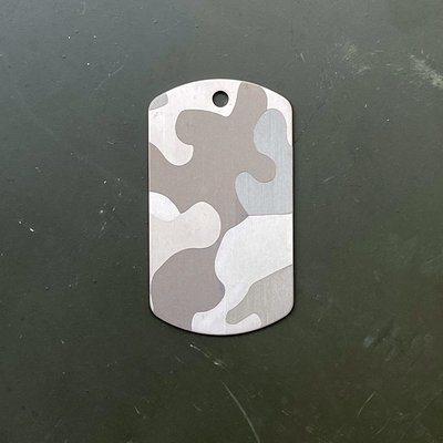 American Titanium Dog Tag with Precision Engraved CAMOUFLAGE on both sides