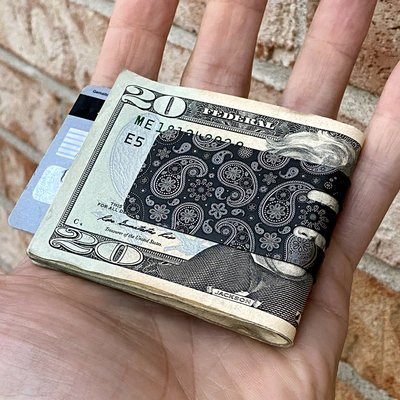 Black Diamond mini-VIPER Money Clip - Precision Engraved Paisley Pattern (both sides)