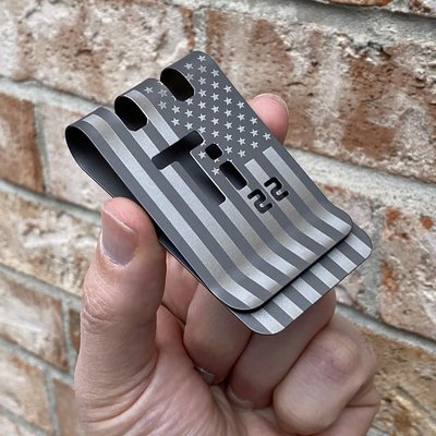 American Titanium Dog Tag with Precision Engraved American Flag on both sides