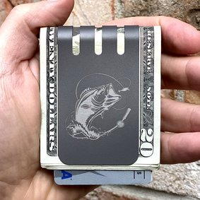 The VIPER™ money clip - BASS FISHING on NASA Optical Gray Finish