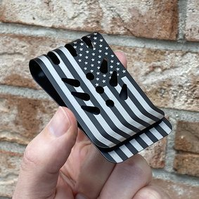VIPER™ Titanium Money Clip - Black Diamond Finish - Precision Engraved AMERICAN FLAG (both sides)
