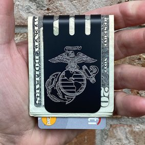 VIPER™ Titanium Money Clip - US MARINES EGA on BLACK DIAMOND FINISH plus PRECISION ENGRAVED AMERICAN FLAG ON FRONT SIDE