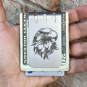 The VIPER™ Money Clip - ENGRAVED EAGLE on Natural Titanium Finish