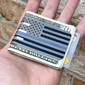 THIN BLUE LINE Money Clip with NASA Optical Gray Finish
