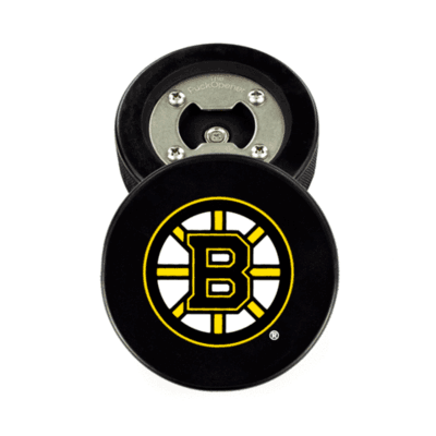 Boston Bruins® Real Puck Bottle Opener