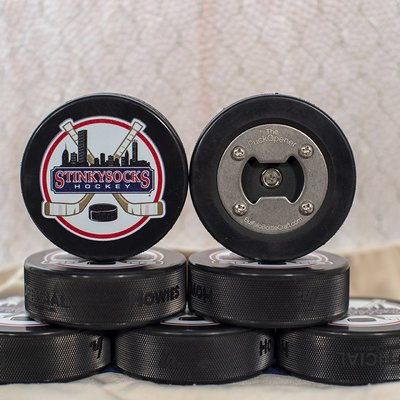 StinkySocks Hockey Real Puck Bottle Opener