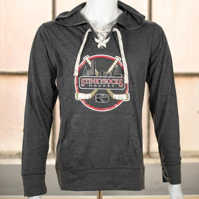 SSH Classic Lightweight Lace-Up Hoodie in Dark Grey