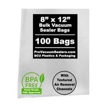 8x12 in. (100-pack) Vacuum Sealer Bags with Mesh Liner   ***** In Stock and Ready to Ship!*****