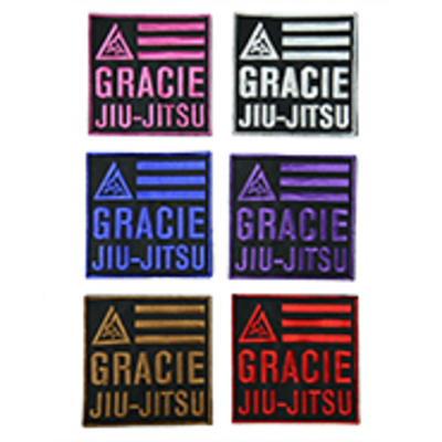 "Gracie Jiu-Jitsu 4x4"" Velcro Patch (White)"