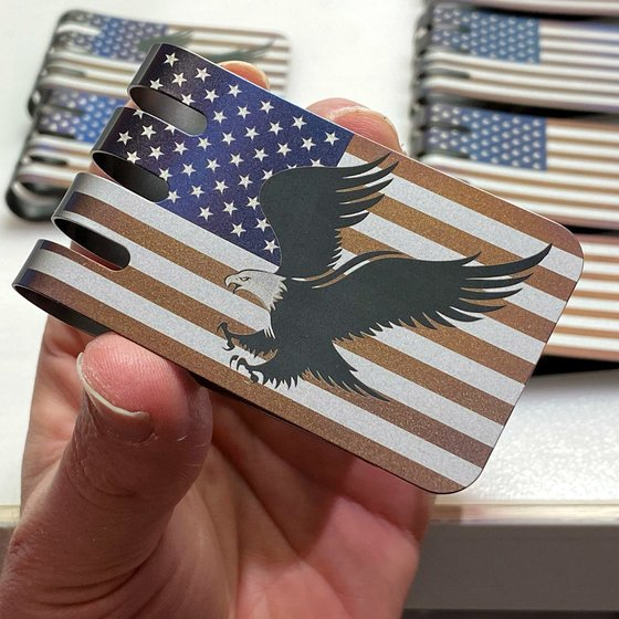 NEW!!  Rustic Anodized American Flag with Eagle on our VIPER™ Titanium Money Clip