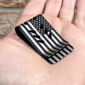 Black Diamond mini-VIPER Money Clip - Precision Engraved Flag (both sides)