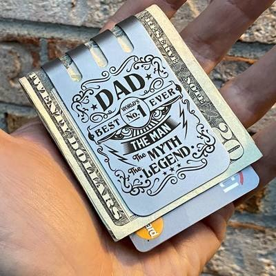 The VIPER™ Money Clip - BEST DAD on Natural Titanium Finish
