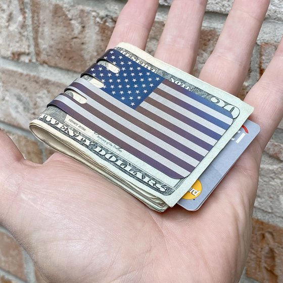 LIMITED EDITION!!  Rustic Anodized American Flag on our VIPER™ Titanium Money Clip