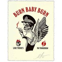 """Obey Giant """"Burn Baby Burn"""" Signed Letterpress"""