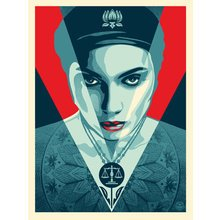"Obey Giant ""Justice Woman - Red"" Signed Screen Print"
