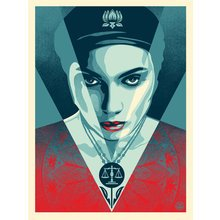"Obey Giant ""Justice Woman - Blue"" Signed Screen Print"